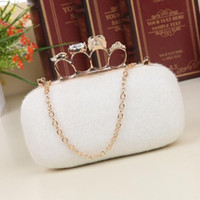 Wholesale Clutch Dropship - Factory Ladies' Skull Clutch Rings Handbag, Four Fingers Evening Bag wallet , day Clutches With Chain free shipping Dropship A11