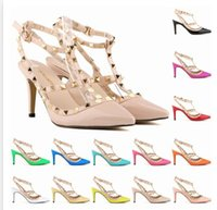 Wholesale Girls Wedding Shoes Ivory - Hand-Made New Lady Fashion High-heeled Shoes Girl Pointed Toe Party Club Banquet Rivet Shoes Multicolor Shoes 13 Color A142B8