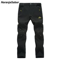 Wholesale Inside Pants - Wholesale- NaranjaSabor 2017 Autumn Men's Pants Warm Inside Fleece Casual Thermal Winter Pant Waterproof Male Thick Trousers For Jogger 5XL