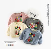 Wholesale Girls Balloon Top - Ins toddler kids cartoon sweatshirt girls boys colorful balloon clown printed tops winter baby stereo pompons velvet thicken jumper R1421