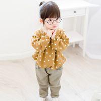 Wholesale Brown Girl Top - 2017 Spring Baby Girl Long Sleeve Causal T-shirt Polka Dots Kids Clothes Girls Shirts Children Tees Tops Fashion Brown K6684