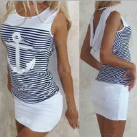 Wholesale ladys dresses - New 2015 summer arrival women's casual clothes hot sale women dress sleeveless O-neck striped ladys' dress