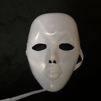 Ensemble du visage PVC Plaine Hip-hop masque blanc Costume Party cosplay Dance Crew paquet de 50 (Blanc et Noir)