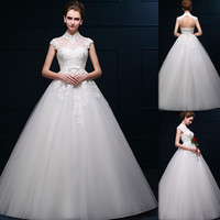 Wholesale Korean Gown For Wedding - Wedding Dresses Couture High Neckline White Tulle Applique Lace Cap Sleeves Bridal Gowns Sheer Bandage Formal Korean Dress For Brides 2016