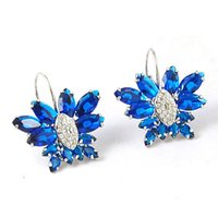 Wholesale Gold Butterfly Earings - more color crystal butterfly lady's earings (3*2.5cm) (woniu152)