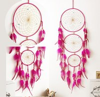 Wholesale handmade crafts for birthdays - Handmade Dream Catcher Net With Feathers Hanging Decoration Craft For Kids Bed Room Craft Birthday Wishes 4 Colors Free DHL D357L