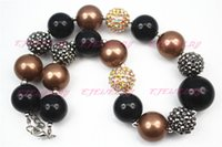 Beaded Necklaces black gumballs - Silver and Black Girls Chunky Necklace Chunky Beaded Necklace Gumball Necklace CB106