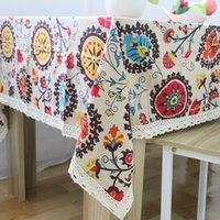Wholesale Table Covers Flowers - National Flower Table Cover Cloth Color Linen Restaurant Art Decor Table Cloth Overlays Christmas Decoration SD717