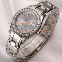 Wholesale Perpetual Women - luxury watch Lady DateJust Pearlmaster 80299 18K White Gold Silver Diamond Dial Oyster Perpetual day date Wristwatches women WATCH