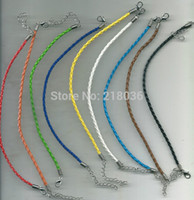 Wholesale Diy Bracelet Leather Goods - 9 Color Vintage Silvers Lobster Clasp Braid Leather Charm Good Luck Bracelets&Bangle For Bead DIY Fashion Jewelry 50 Pcs L839