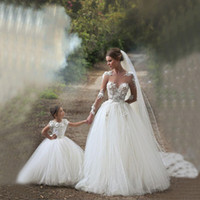 Wholesale Made Match Ribbon - 2015 Cinderella Flower Girls Dresses Special Occasion Kids Lace First Communion Gowns White Mother And Daughter Matching Wedding DressesZC05