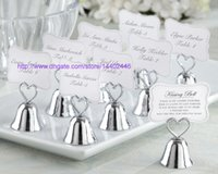 Wholesale Wedding Bell Place Cards - 100pcs Heart Kissing Bell Place Card Photo Holder Bridal Wedding Metal Heart Shape Favor Favors Golden Silver Color
