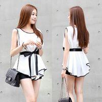 Wholesale Elegant Chiffon Blouse Belt - 2015 New Summer Chiffon Blouses Elegant Women Slim Fit White Shirts Blusas Mujer Casual Sleeveless Tops With Belt Free Shipping