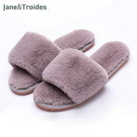 Wholesale Open House Homes - Autumn Home Fluffy Women Slippers Soft Warm Anti Slip Flip Flops Open Toe Plush House Sandals Fashion Fleece Women Shoes
