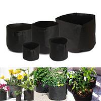 Wholesale fabric grow bags - Round Container Flowerpot Creative Non Woven Fabrics Grow Bag For Practical Garden Planting Supplies Black 55sj C R