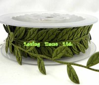 Wholesale lace trim for sewing - 6X(15mm *15 M Roll ) Leaf Leaves Ribbon Sewing Craft Lace Trim Embellishment For Wedding Bridal Hair Christmas Tree Decoration