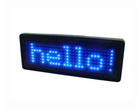 ingrosso distintivi scorrevoli-LED Nome Badge LED Display Board con batteria CR2032 Scrolling LED Sign Blue Character supporta più lingue Varie funzioni B729TB