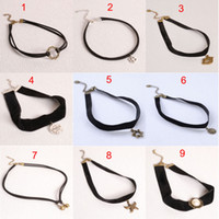 Wholesale Lips Necklace Wholesale - Fashion simple Velvet ribbon necklace Multi-style Lip sun star hook Chokers necklace torques cuff for women statement jewelry 160318