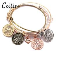 Wholesale bronze bracelet accessories online - Vintage Bronze Colors Alloy Crystal Fatima Hamsa Hand Charms Expandable Bangle Heart Pendant Cuff Bracelet Women Accessories Gifts