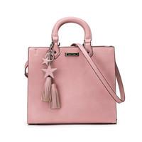 Wholesale Tote Pendant - New Arrival Women Handbags Fashion Lady Plain Pink Tote Stars Tassel Pendant Brand Designer Big capacity Square Shoulder Bags Zipper WDS596