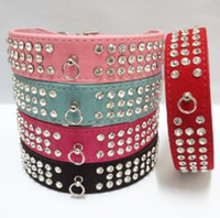 Wholesale Puppy Collars Rhinestones Wholesale - Dog Collar Pet Collar 3 Row Rhinestone Dog Puppy Collars For Small Dogs