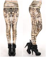 Wholesale Skye Leggings - FG1509 Women Sexy vintage Egypt Pharaoh King Tut Cheshire Cat Mechanical Bones White Black Aurora Skye Orange Leggings HOT Sale