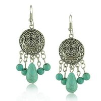 Wholesale Metal For Earings - Tibetan silver plated turquoise Earrings for women Bohemia vintage metal carved flower round turquoise beads dangle Earings wholesale(E0127)