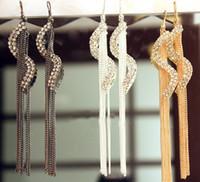 Wholesale Long Earrings Shape - New Fashion S-Shape Long Drop Tassel Earrings Christmas Gift Luxury Austrian Crystal Wedding Earrings For Women CN