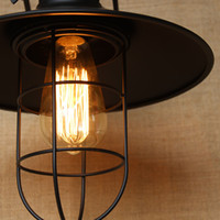 Wholesale Country Lamp Shades - Iron Vintage Wall Lamp American Country Style High-Quality Metal Lamp shade Edison Bulbs Cover with Iron wire Fast Delivery