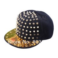 Wholesale Spiky Hats - Wholesale-New Fashion Unisex Hedgehog Punk Hip-hop Hot rock Hat Rivets Spikes Spiky Studded Cap