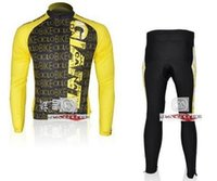 Wholesale Giant Bike Jersey Set - Wholesale-2011 GIANT CICLO TEAM cycling wear clothes tights bicycle MTB Road bike riding long sleeve jerseys + pants sets yellow
