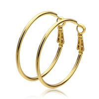 Wholesale Solid Yellow Filled Hoop - Smooth Solid 18k Yellow Gold Filled Hoop Earrings for Women Large Big Loop Circle Earring Fashion Jewelry