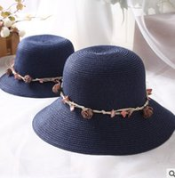 Wholesale Roses Crochet - Girls summer sunshade hat mother and dauther children stereo rose flowers shell beach holiday sun cap lady foldable straw hat R0807