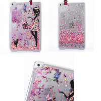 Wholesale Ipad Mini Girl - Luxury Fashion Girl Bird Butterfly Flower Skin Bling Hearts Glitter Liquid Heart Hard Clear Plastic cover case For Ipad Mini 10pcs 20pcs