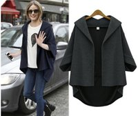 Wholesale Woman Navy Blue Cardigan - 2016 Dark Navy Outerwear Casual Coat Outerwear Coat Women Summer Casual Cape Party 3 4Sleeve V-Neck Sexy Cocktail