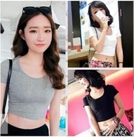 Wholesale Girls Camisole Tops - Wholesale-E126 Basic Stretch Women Sexy Crop Top Girl Short Sleeve T Shirt Tee Black White Grey Vest Camisole Regata Feminina