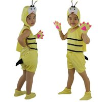 Wholesale Fancy Dress Bee - 2018 Fashion Kids Short Sleeved Animal Yellow Bee Cosplay Costume Stage Perfromance Halloween Birthday Fancy Dress Supplies
