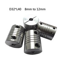 Wholesale Stepper Motor Flexible Coupling Coupler - Aluminium linear Shaft Coupler 8mm with 12mm D32mm L40mm clamping Flexible Coupling for cnc Stepper Motor
