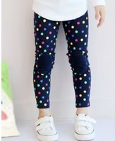Wholesale Colorful Leggings For Kids - Free shipping 5 pc lot 2014 Autumn New Colorful DOT Patch Girl's Leggings   Legging For Kids Wear Garment