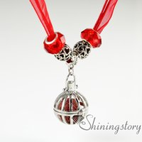 Wholesale Big Bird Cages - bird cage openwork organza big whole charm bead volcanic stone wholesale diffuser necklace oil diffuser necklace aroma pendant