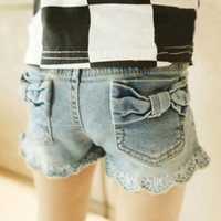 koreanische jeans-shorts großhandel-Sommer Shorts Mädchen Kleid Kinder Shorts Spitze Jeans Kinder Shorts Kinder Kleidung Kinder Kleidung Mädchen Shorts Kinder Hosen Korean Denim Shorts