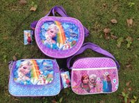 Wholesale Kids Canvas Lunch Bags - new popular cartoon movie Frozen Elsa Anna one shoulder schoolbags backpacks lunch bags for kid children's gift