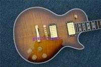 Wholesale Desert Sunburst - Free Shipping high quality Ebony Finger Board G LP Custom Desert Burst Brown Electric Guitar
