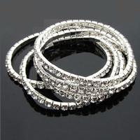 Wholesale Elasticity Bracelets - New women Multilayer Tennis bangle Bracelets 1-5 Rows Clear Crystal Rhinestone elasticity Bracelet for Ladies Fashion Jewelry Hot sale
