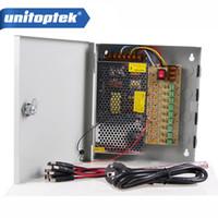 Wholesale 12v Power Supply Camera Dvr - Power supply 12V 10A Power Supply Box CCTV CCD Camera or 12V DC 9 Port +Pigtail