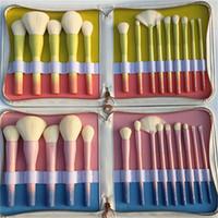 Wholesale Pro Makeup Bags - 2017 Gradient Color Professional Makeup Brushes VDL pantone+mydestiny pro 14pcs Makeup Brush Set with Leather Bag