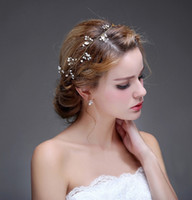 Wholesale Cheap Bride Costumes - Elegant Wedding Copper Wire Tiaras & Hair Accessories Pearl Crystals Costume Wedding Jewelry Cheap Engagement Headpiece For Brides Wholesale