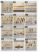 Wholesale Tattoo Sticker Wholesale Supply - 120pc Lot 2015 New Design 21*15CM gold silver metalic temporary tattoo stickers supply TSG01 tattoos waterproof design