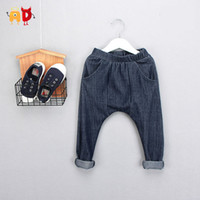 Wholesale Soft Unisex Jeans - Wholesale-AD Children's Fashion Jeans Imitated Cotton Blend Soft Fabric Boy Or Girl's Harem Pants Kid's Baggy Trousers For 2-10