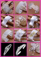 Wholesale Wide Sterling Bangle - Dragonfly Butterfly Rose Chrysanthemum plated 925 sterling silver Exaggeration Wide bracelet women Christmas gift